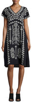 Johnny Was Jolina Easy-Fit Embroidered Dress, Black, Plus Size