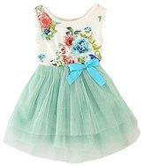 Mactery Little Girls Floral Princess Dress Sleeveless Tulle Tutu Sundress
