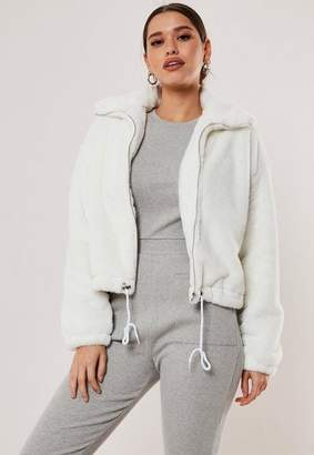 Missguided White Cropped Faux Fur Bomber Jacket