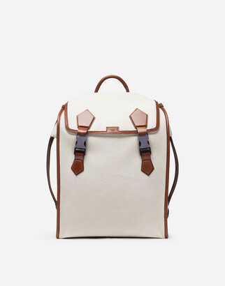 Dolce & Gabbana Edge Backpack In Canvas And Cowhide
