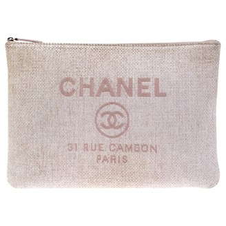Chanel Deauville Pink Tweed Clutch bags