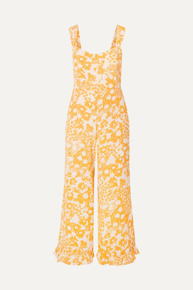 Faithfull The Brand Kasbah Ruffled Floral-print Voile Jumpsuit - Yellow