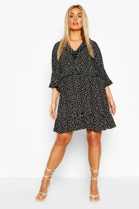 boohoo Plus Polka Dot Kimono Sleeve Smock Dress