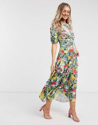 NEVER FULLY DRESSED puff sleeve midaxi dress in tropical floral print