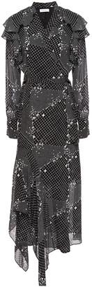 Hofmann Copenhagen Asymmetric Patchwork-effect Printed Georgette Midi Dress