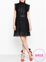 Anna Sui Leather And Lace High Neck Dress