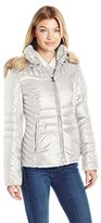 GUESS Women's Polyfill Puffer Coat with Faux Fur Trim Hood