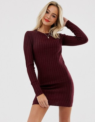 Brave Soul mando jumper dress in merlot-Red