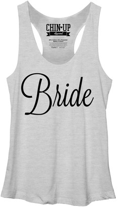 Chin Up Apparel Women's Tank Tops White - Heather White 'Bride' Script Tank - Women