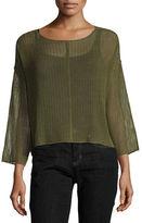 Eileen Fisher Bracelet-Sleeve Knit Mesh Top, Plus Size