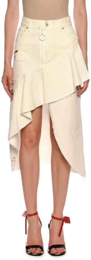 Off-White Off White Ruffled Denim High-Low Denim Skirt