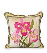 "Jay Strongwater Orchid Pillow, 20""Sq."
