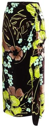 Dries Van Noten Floral high-rise velvet midi skirt