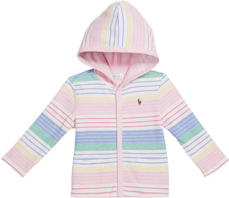 Ralph Lauren Kids Girl's Striped Knit Hooded Cardigan, Size 9-24M