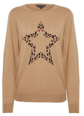 Dorothy Perkins Womens Camel Animal Print Star Jumper