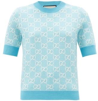 Gucci GG-jacquard Wool-blend Sweater - Blue White