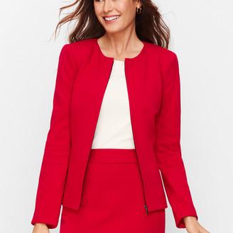 Talbots Italian Luxe Knit Zip-Front Jacket - Solid