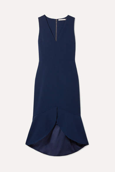 Alice + Olivia Alice Olivia - Blakesley Ruffled Crepe Dress - Navy