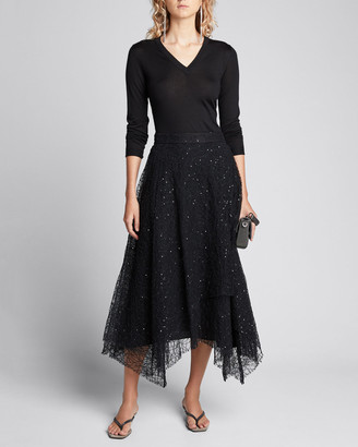 Brunello Cucinelli V-Neck Long-Sleeve Cashmere-Silk Pullover
