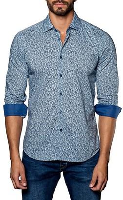 Jared Lang Printed Long-Sleeve Button-Down Shirt
