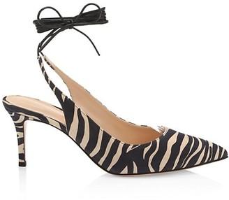 Gianvito Rossi Irene Ankle-Wrap Zebra-Stripe Leather Pumps