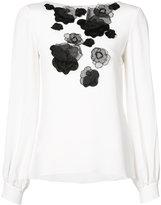 Oscar de la Renta floral embroidered blouse