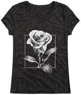 Instant Message Women's Women's Tee Shirts BLACK - Heather Black Rose V-Neck Tee - Women