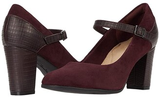 Clarks Alayna Shine (Burgundy Suede/Synthetic Combination) Women's Shoes