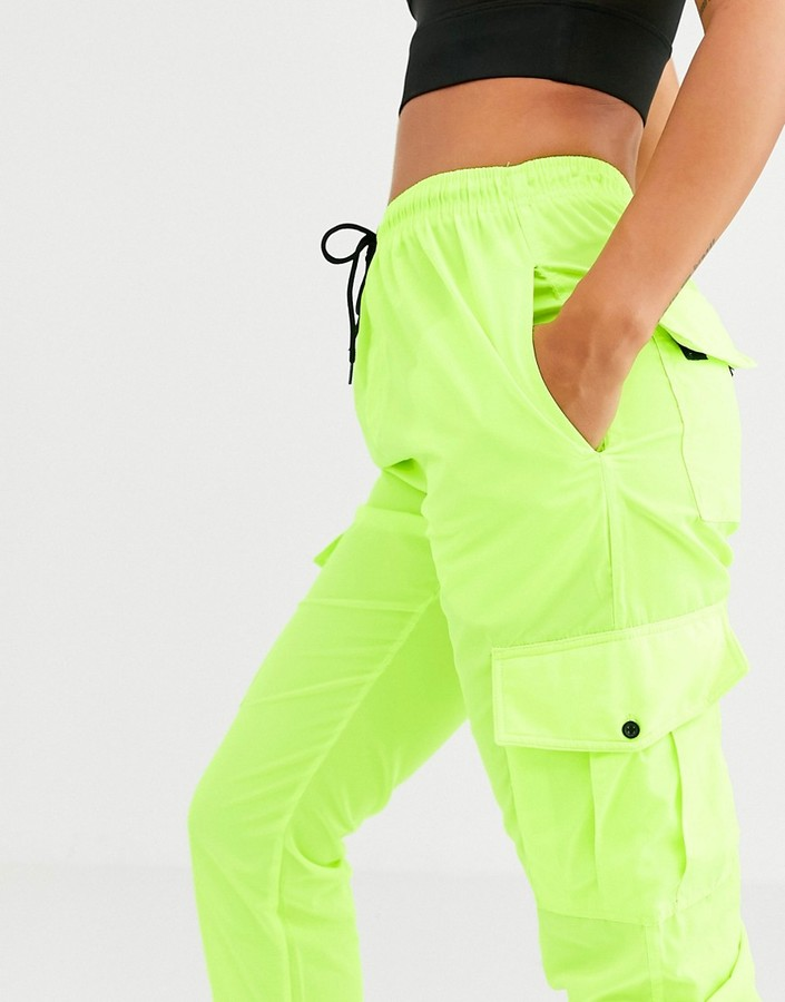 Thumbnail for your product : Qed London elasticated cuff cargo pants in lime two-piece