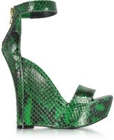 Balmain Samara Green Python Wedge Sandals