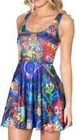 Bramble Women's Sleeveless Fashion Printed Flare Beach Swimwear Mini Dress Cartoon World (Blue)