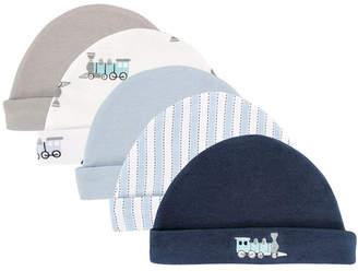 Luvable Friends Caps, 5-Pack, 0-6 Months
