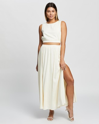 Atmos & Here Atmos&Here - Women's Neutrals Midi Skirts - Bernadette Linen Midi Skirt - Size 6 at The Iconic