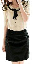 Allegra K Lady Ruffle Tie Neck Short Sleeves Button Down Shirt XS