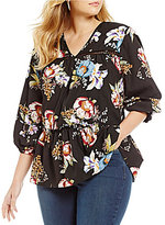 Chelsea & Theodore Plus Ladder Lace Floral Top