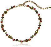 """Sorrelli Green Tapestry"""" Classic Crystal Floral Necklace, 14"""" + 4"""" Extender"""