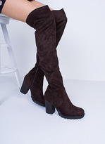 Missy Empire Odette Chocolate Suede Thigh High Heeled Boots