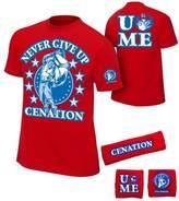 Freeze John Cena Boys Cenation Kids WWE Costume T-shirt Wristbands-M (8-10)