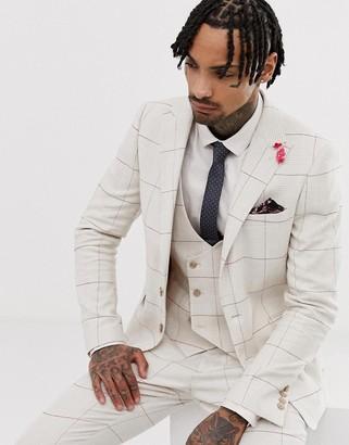 Gianni Feraud wedding skinny fit peak lapel linen blend check suit jacket-White