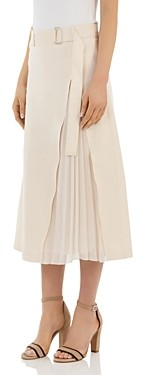 Peserico Pleated Belted A-Line Midi Skirt