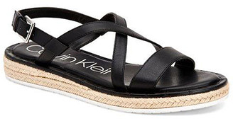 Calvin Klein Women's Sandals BLACK - Black Sling-Strap Tamerine Leather Espadrille - Women