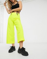 Asos Design DESIGN wide leg shell trouser in bright yellow