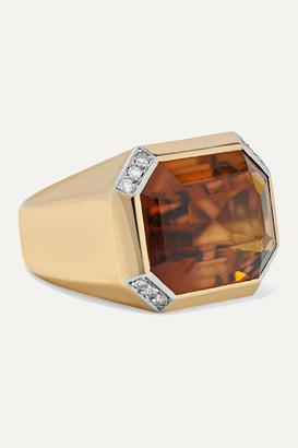 Fred Leighton 1970s 18-karat Gold And Platinum, Citrine And Diamond Ring - 6