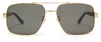 Gucci Web-striped Aviator Metal Sunglasses - Gold