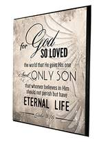 For God so Loved the World That He Gave His One and Only Son | Religious Decor | Wood Wall Plaque | Made in USA | Ready to Hang | Perfect Christian Gift (Light Gray, 9x12)