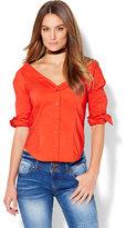 New York & Co. 7th Avenue - Madison Stretch Shirt - V-Neck Off-The-Shoulder