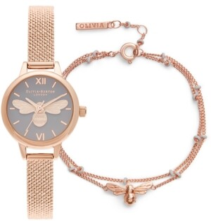 Olivia Burton Women's Mini Lucky Bee Rose Gold-Tone Stainless Steel Mesh Bracelet Watch 23mm Gift Set