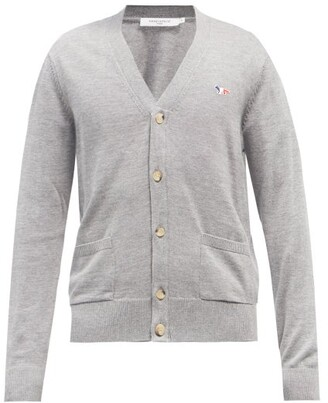MAISON KITSUNÉ Tricolour Fox-patch Wool Cardigan - Grey
