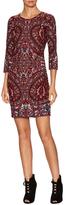 Haute Hippie 3/4 Sleeve Embroidered Sheath Dress