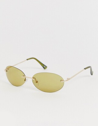 Asos Design DESIGN oval rimless sunglasses with olive lenses-Green